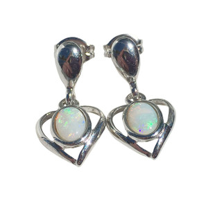CLEAR LOVE STERLING SILVER OPAL EARRINGS
