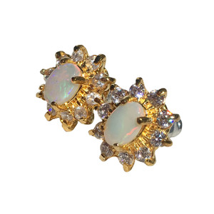 SUN BRIGHT 18kt GOLD PLATED OPAL EARRINGS
