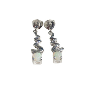 ELECTRIC DROP STERLING SILVER WHITE OPAL EARRINGS