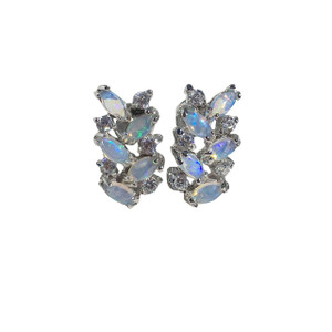 PURE PASSIONS STERLING SILVER WHITE OPAL EARRINGS