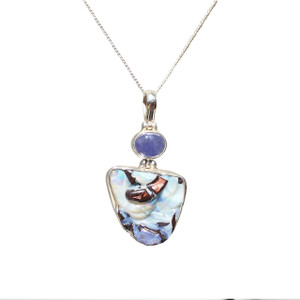 MOZAIC WONDERLAND STERLING SILVER OPAL NECKLACE