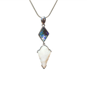 LIGHTNING DRIP STERLING SILVER OPAL NECKLACE