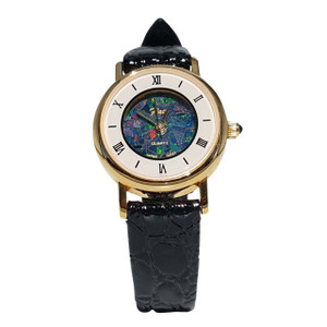 GENUINE LEATHER 18kt GOLD PLATED OPAL WATCH (ROUND)