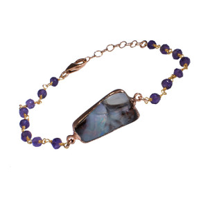 ELECTRIC MAJESTY OPAL & AMETHYST 18KT GOLD PLATED BRACELET
