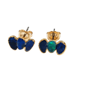 ELECTRIC OPAL BLUE SHOCK 18KT GOLD PLATED EARRING CRAWLERS
