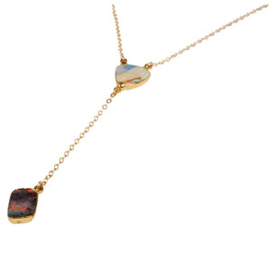 ELECTRIC OPAL 2 STONE SUNRISE 18KT GOLD PLATED NECKLACE