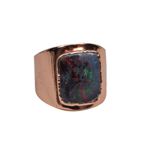 ELECTRIC OPAL INDIGO GLOW 18KT ROSE GOLD PLATED COCKTAIL RING