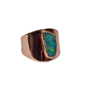 ELECTRIC OPAL SPLASH 18KT ROSE GOLD PLATED RING