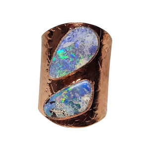 ELECTRIC SEA SPRAY 18kt ROSE GOLD PLATED OPAL RING