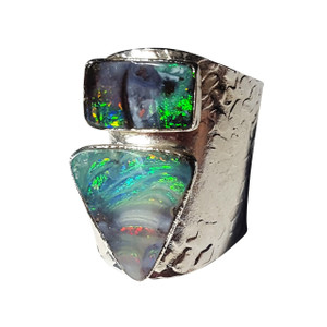 ELECTRIC GREEN SPLICE STERLING SILVER PLATED OPAL RING