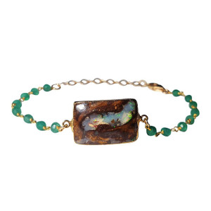 FOREST GREEN FLASH OPAL & GREEN ONYX 14kt GOLD PLATED  BRACELET