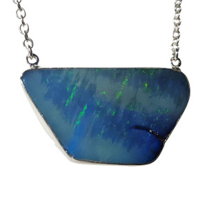 ELECTRIC BLUE SWIRL STERLING SILVER PLATED OPAL NECKLACE