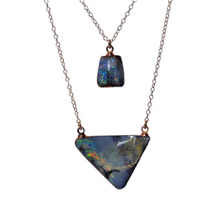 CREAMY ELECTRIC DROP 18kt ROSE GOLD OPAL NECKLACE