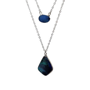 MAGIC BLUE LAYERED STERLING SILVER PLATED OPAL NECKLACE