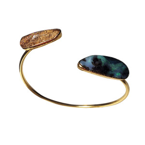 ELECTRIC BEAUTY 18kt GOLD PLATED SOLID BOULDER OPAL BANGLE