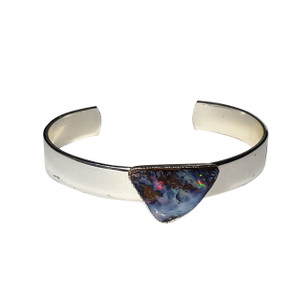 ELECTRIC HAZE STERLING SILVER PLATED SOLID BOULDER OPAL BANGLE