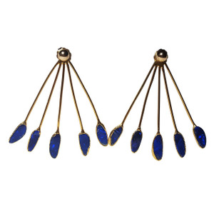 ELECTRIC PEACOCK 18kt GOLD PLATED OPAL EARRINGS
