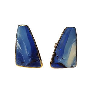 BLUE WINTER WONDERLAND 18kt GOLD PLATED OPAL EARRINGS