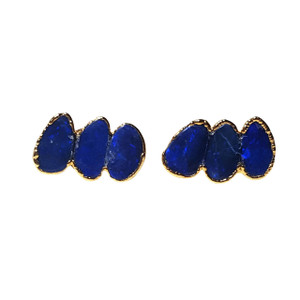 ELECTRIC BLUE HORIZON 18kt GOLD PLATED OPAL EARRINGS