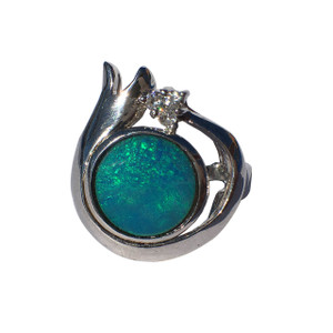 AQUA MARINE CROWN SILVER OPAL RING