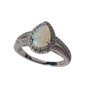CRYSTAL LOVE DROP STERLING SILVER OPAL RING