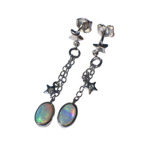 CHARMING LOVE STERLING SILVER OPAL EARRINGS