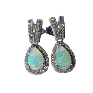DEVOTED LOVE STERLING SILVER OPAL EARRINGS