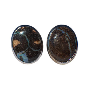DARK NIGHT STERLING SILVER OPAL CUFFLINKS