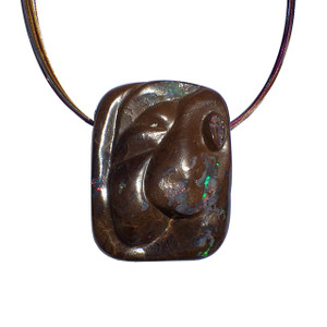 CARVED RAINBOW BOULDER OPAL NECKLACE