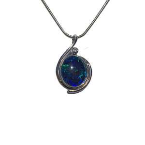 BLUE & GREEN SPRAY STERLING SILVER OPAL NECKLACE