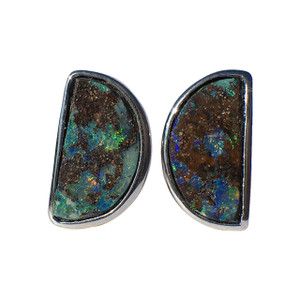 RAINBOW ROCK STERLING SILVER OPAL STUD EARRINGS