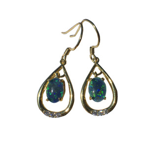 BLUE FLASH 18KT GOLD PLATED OPAL EARRINGS