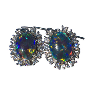 MULTI COLORED RICH FLASH STERLING SILVER OPAL EARRINGS