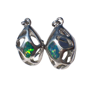 CAGED LIGHTNING RIDGE STERLING SILVER OPAL EARRINGS