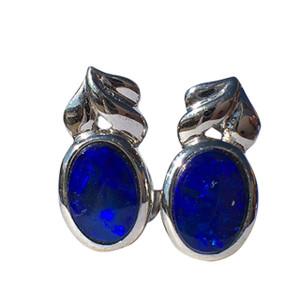 ROYAL BLUE ARROW STERLING SILVER OPAL EARRINGS
