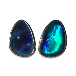 CAPTURED SEA STERLING SILVER OPAL EARRINGS