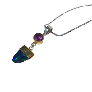 RAINBOW OPAL & AMETHYST 18KT GOLD PLATED NECKLACE