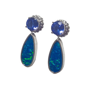 SEA SPRAY DROP TANZANITE & OPAL 14KT WHITE GOLD EARRINGS
