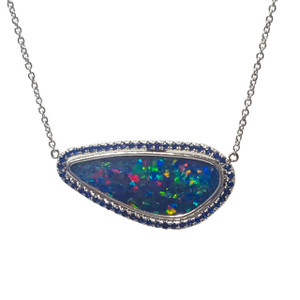 CONFETTI SPLICE BLUE SAPPHIRES & OPAL 14KT WHITE GOLD NECKLACE