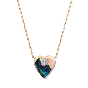 HEART OF BOULDER 18KT YELLOW GOLD & DIAMOND OPAL NECKLACE