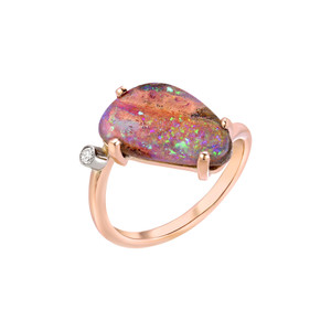 BRIGHT RIVER 14KT ROSE GOLD & DIAMOND OPAL RING