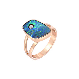 SUNSET FLASH 18KT YELLOW GOLD & DIAMOND OPAL RING