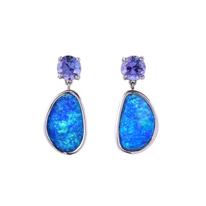 CORAL SEA 14KT WHITE GOLD OPAL & TANZANITE EARRINGS
