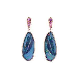 MAGESTIC NIGHT 14KT GOLD OPAL & PINK SAPPHIRE EARRINGS
