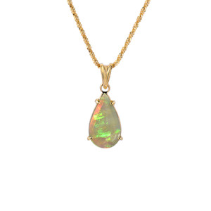 RIDGE CRYSTAL DROP 14KT GOLD OPAL NECKLACE