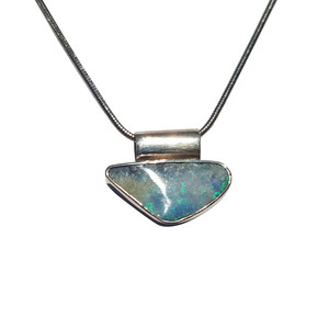 BLUE SPARKLE STERLING SILVER BOULDER OPAL NECKLACE