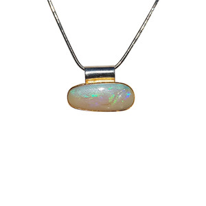 WHITE NIGHT 18KT GOLD PLATED & STERLING SILVER OPAL NECKLACE