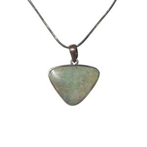 WHITE DELIGHT SOLID ANDAMOOKA OPAL STERLING SILVER NECKLACE