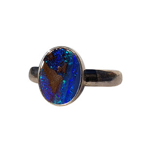 BLUE DOME STERLING SILVER BOULDER OPAL RING