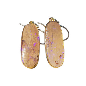 PASTEL RIVER BED STERLING SILVER & 18kt GOLD PLATED OPAL EARRINGS